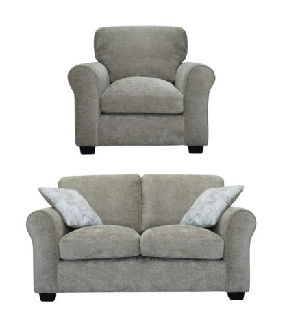 An Image of Argos Home Tammy Fabric Chair and 2 Seater Sofa - Mink