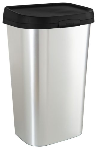 An Image of Curver Mistral 50 Litre Lift Top Bin - Silver