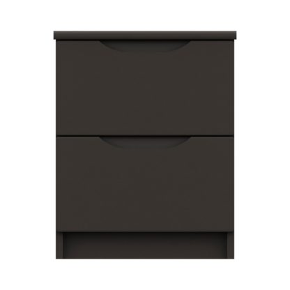 An Image of Legato Graphite Gloss 2 Drawer Bedside Table Black