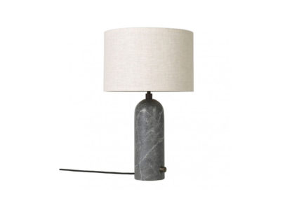 An Image of Gubi Gravity Table Lamp Small Blackened Steel Base Canvas Shade
