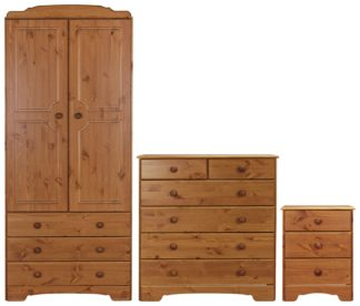 An Image of Argos Home Nordic 3 Piece 2 Door Wardrobe Set - Pine