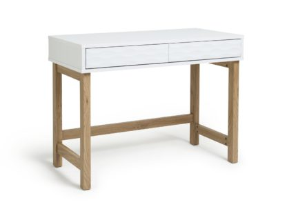 An Image of Habitat Zander 2 Drawer Desk - White Two Tone