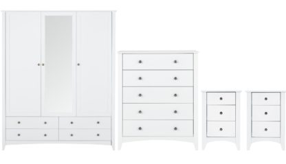 An Image of Habitat Minato 4 Piece 3 Door Wardrobe Set - White