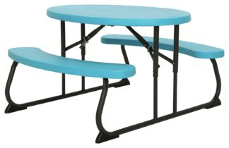 An Image of Lifetime Children's Oval 4 Seater Picnic Table - Blue