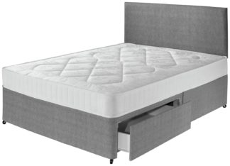 An Image of Argos Home Elmdon Comfort 2 Drawer Small Double Divan - Grey