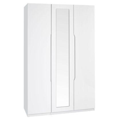 An Image of Legato White 3 Door Mirrored Wardrobe White