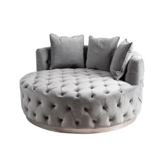 An Image of Frankfurt Loveseat - Dove Grey - Brushed Silver Base
