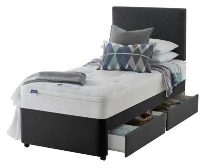 An Image of Silentnight Travis Ortho Single 2 Drawer Divan Bed -Charcoal