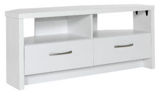 An Image of Habitat Venice 2 Drawer Large Corner TV Unit - White