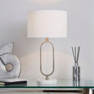 An Image of Carrara Real Marble Base Loop Table Lamp Chrome