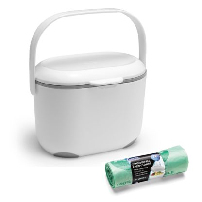 An Image of Addis Compost Caddy with Bags - Grey