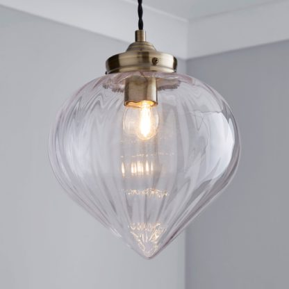An Image of Rio Voyager 1 Light Pendant Ribbed Glass Ceiling Fitting Antique Brass
