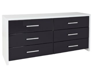 An Image of Habitat Broadway 3+3 Drawer Chest - Black Gloss & White