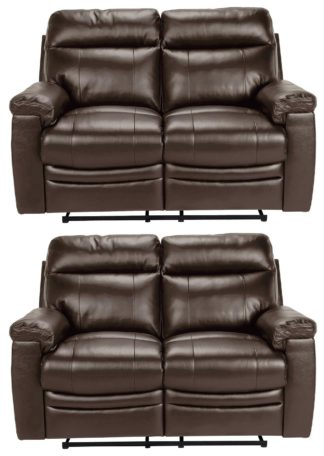 An Image of Argos Home Paolo Pair of 2 Seater Manual Recline Sofa -Brown