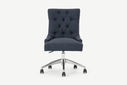 An Image of Flynn Office Chair, Atlantic Blue Linen Mix with Chrome Legs