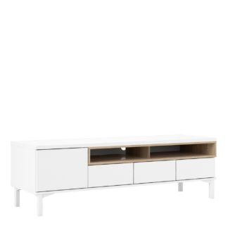 An Image of Greyson 1 Door 3 Drawer TV Unit - White & Oak Effect