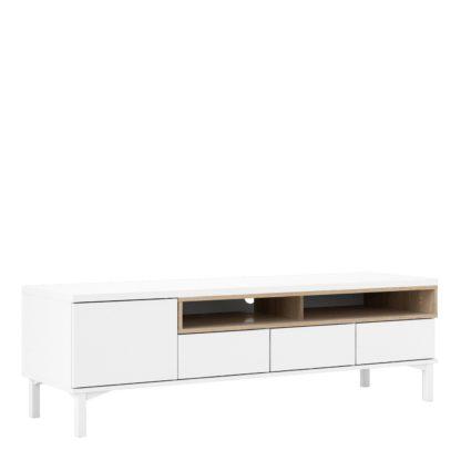 An Image of Greyson 1 Door 3 Drawer TV Unit - White & Oak Effect