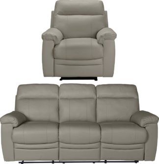An Image of Argos Home Paolo Chair & 3 Seater Manual Recliner Sofa -Grey