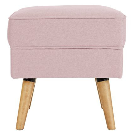 An Image of Habitat Callie Fabric Footstool - Blush Pink