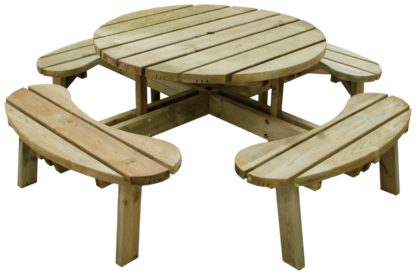 An Image of Forest Garden Round 8 Seater Picnic Table