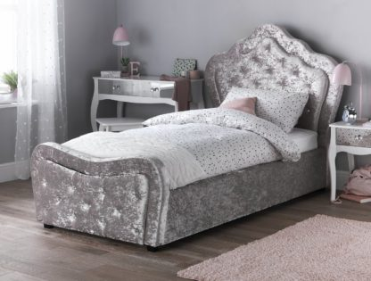An Image of Argos Home Venice Crushed Velvet Single Bed Package