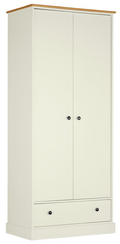 An Image of Argos Home Kensington 2Dr 1Drw Wardrobe - Soft Grey /Oak Eff