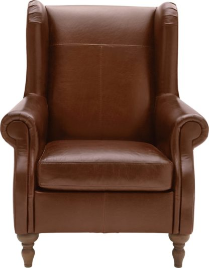 An Image of Argos Home Argyll Leather High Back Chair - Tan