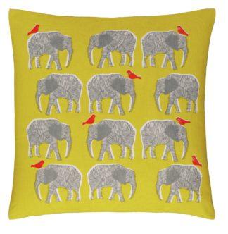 An Image of Habitat Topsy Patterned Cushion - Saffron