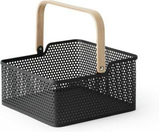 An Image of Kennedi Perforated Metal Square Storage Basket, Black