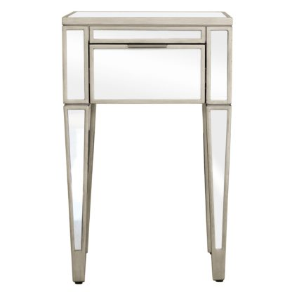 An Image of Fitzgerald Mirrored Nightstand Silver