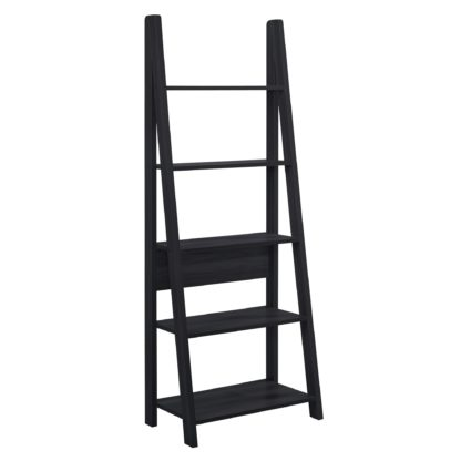 An Image of Tiva Wooden Ladder Bookcase Black