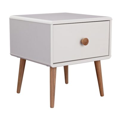 An Image of Argos Home Bodie 1 Drawer Bedside Table - White