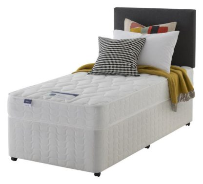 An Image of Silentnight Travis Microquilt Single Divan Bed - White