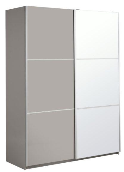 An Image of Habitat Holsted Medium Gloss & Mirror Wardrobe - Grey
