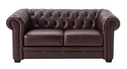 An Image of Habitat Chesterfield 2 Seater Leather Sofa - Black