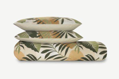 An Image of Rocoto Cotton Duvet Cover + 2 Pillowcases, Double, Green & Natural