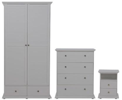 An Image of Habitat Heathland 3Pc 2 Door 2 Drawer Wardrobe Set - Grey