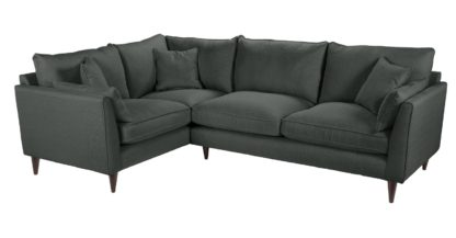 An Image of Habitat Hector Right Corner Fabric Sofa - Charocal Linen