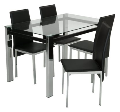 An Image of Argos Home Fitz Clear Glass Dining Table & 4 Black Chairs