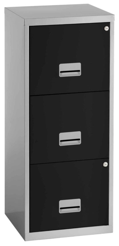 An Image of Pierre Henry 3 Drawer A4 Filing Cabinet - Silver & White