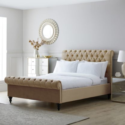 An Image of Classic Taupe Chesterfield Bed Taupe (Cream)