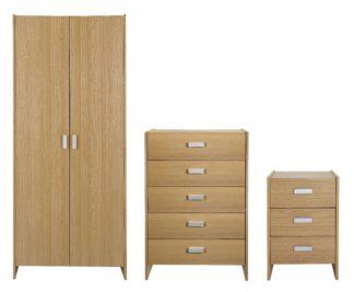 An Image of Argos Home Capella 3 Piece 2 Door Wardrobe Set - Oak Effect