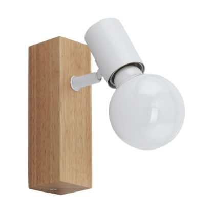 An Image of Eglo Townshend Wall Light - White and Oak