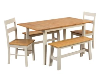 An Image of Habitat Chicago Extending Table, 2 Benches & 2 Chairs
