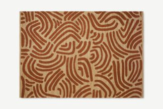 An Image of Bunji Printed Rug, Large 160 x 230cm, Terracotta Jute