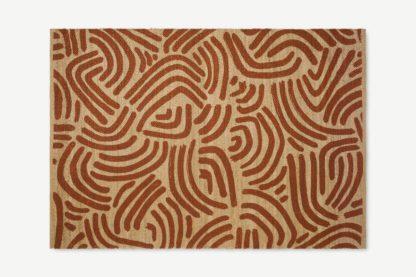 An Image of Bunji Printed Rug, Large 160 x 230cm, Terracotta Jute