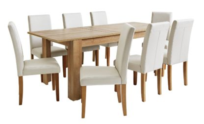 An Image of Habitat Miami XL Extending Table & 8 Cream Chairs