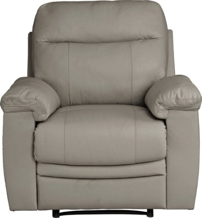 An Image of Argos Home Paolo Leather Mix Manual Recliner Chair - Grey