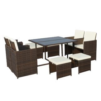 An Image of Cannes 8 Seater Brown Cube Set Natural (Cream)