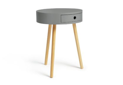 An Image of Habitat Otto 1 Drawer Round Bedside Table - Grey